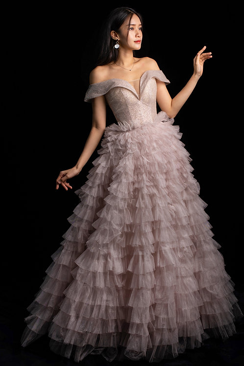 S Pink Ruffle Gown