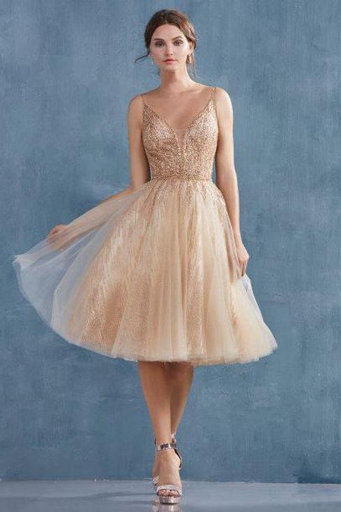 AL Angelica Midi Dress Gold