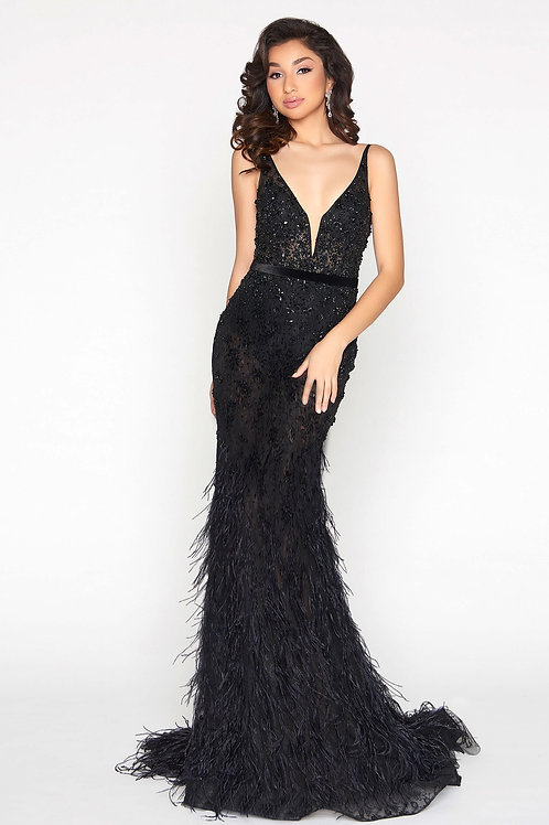 MD Talia Black Feather Gown