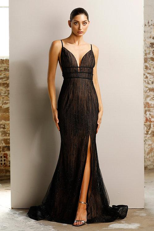 JA Marina Black Nude Glitter Gown