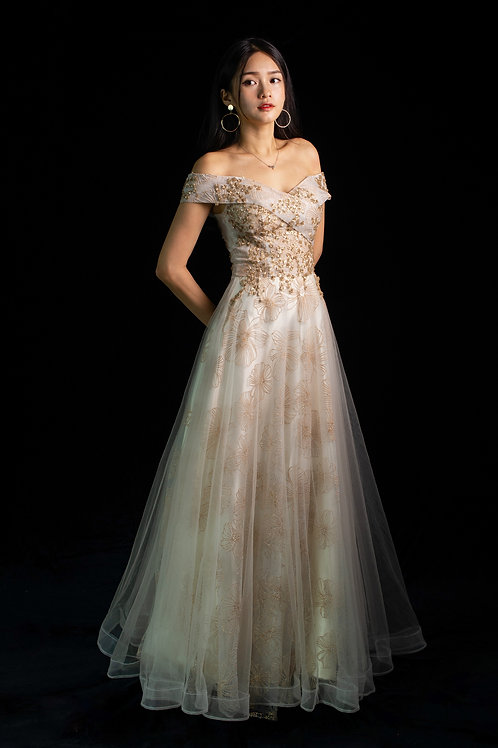 S Gold Leaves Bardot Gown