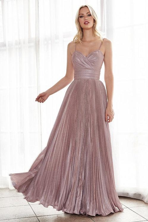 CD Blush Metallic Pleated Gown