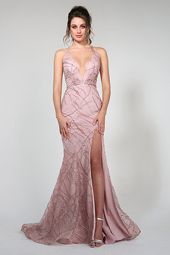 H Aphro Mermaid Gown Tearose