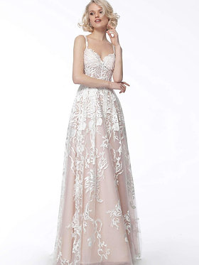 J Grace Floral Ivory Pink Gown