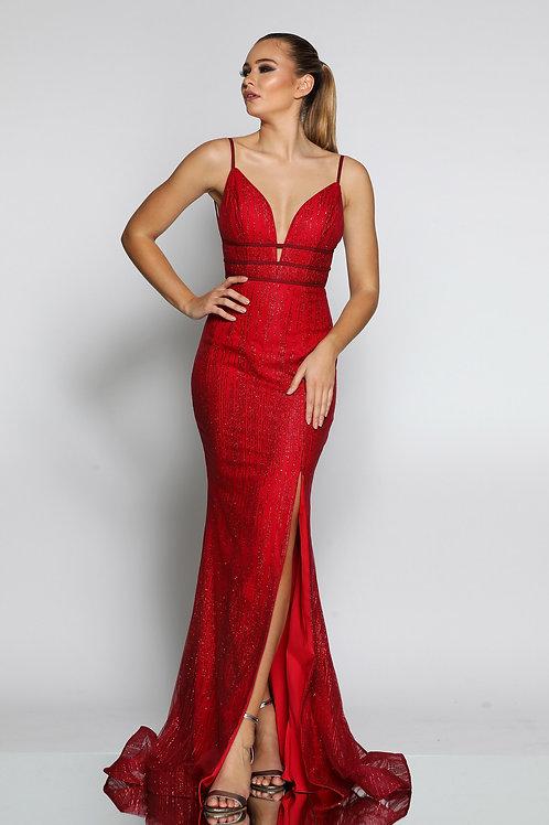 JA Marina Red Glitter Gown