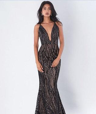 JA Kyla Black Nude Gown