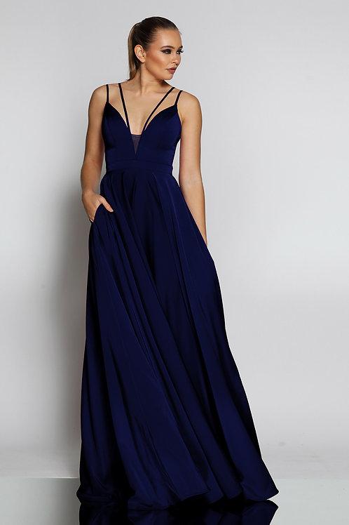 JA Gia Navy Flowy Gown