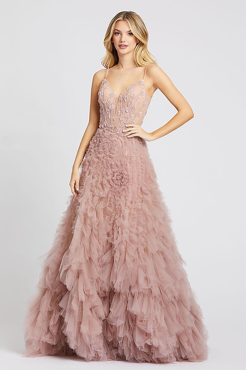 MD Romance Pink Ruffle Gown