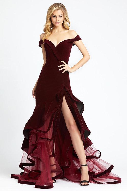 MD Velvet Strata Gown Burgundy