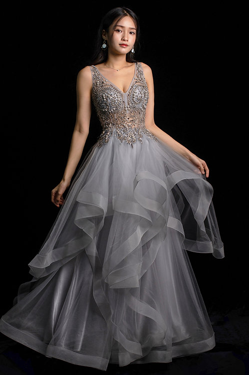 S Arya Silver Gown