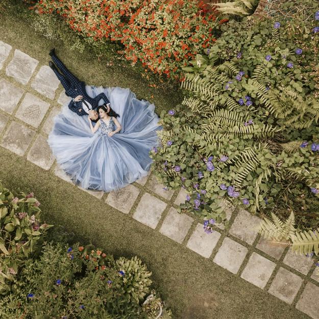 JOVANI Blue Floral Gown