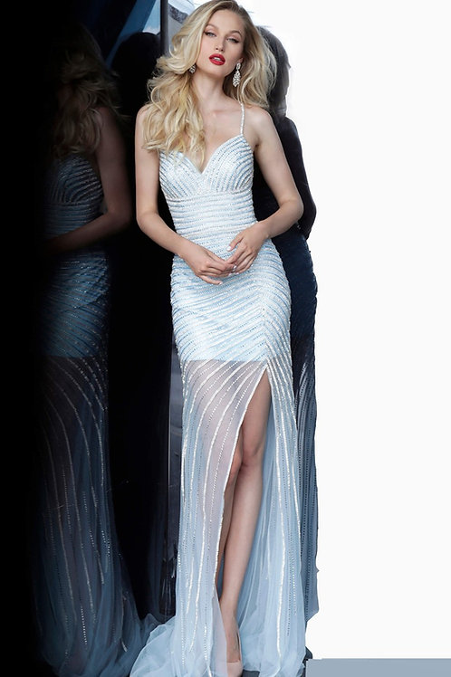 J Celeste Sheer Skirt Gown