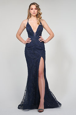 H Aphro Mermaid Gown Navy