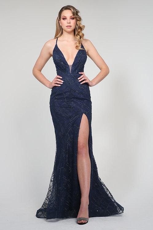 H Aphro Mermaid Gown Navy