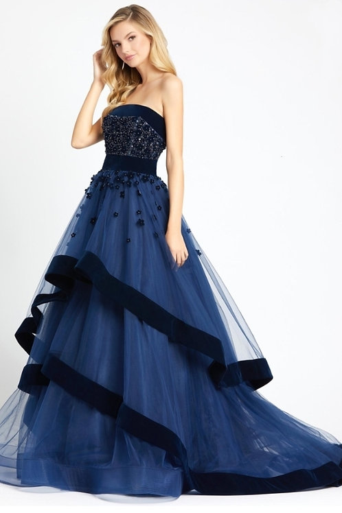 MD Blue Floral Sweetheart Ballgown