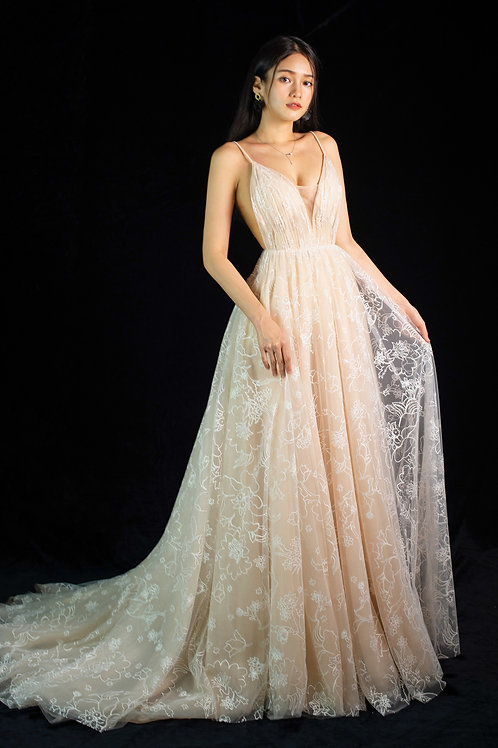 Donna Champagne Crossback Gown