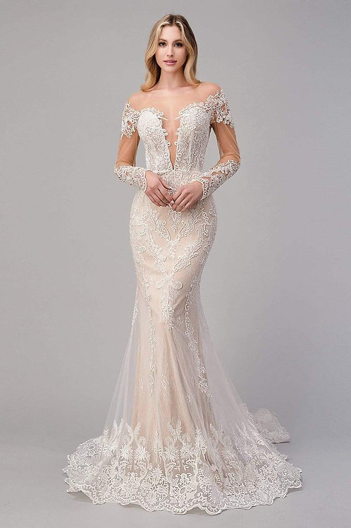 AL Bohemian Lace Mermaid Bridal Gown