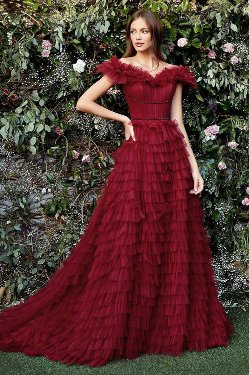 AL Rouge Tulle Gown