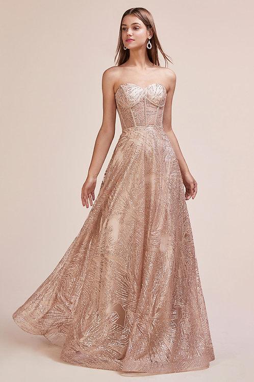 AL Rhinestone Rose Gold Gown