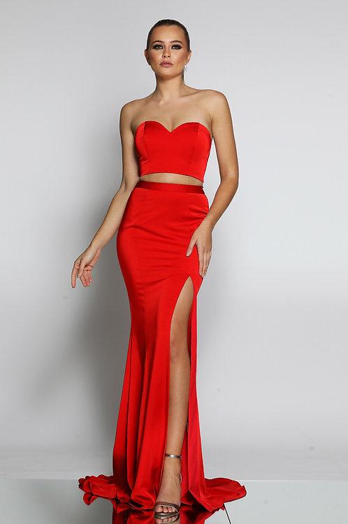 JA 2 Piece Chilli Red Gown