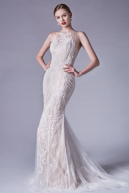 AL Elenora Halterneck Gown Ivory