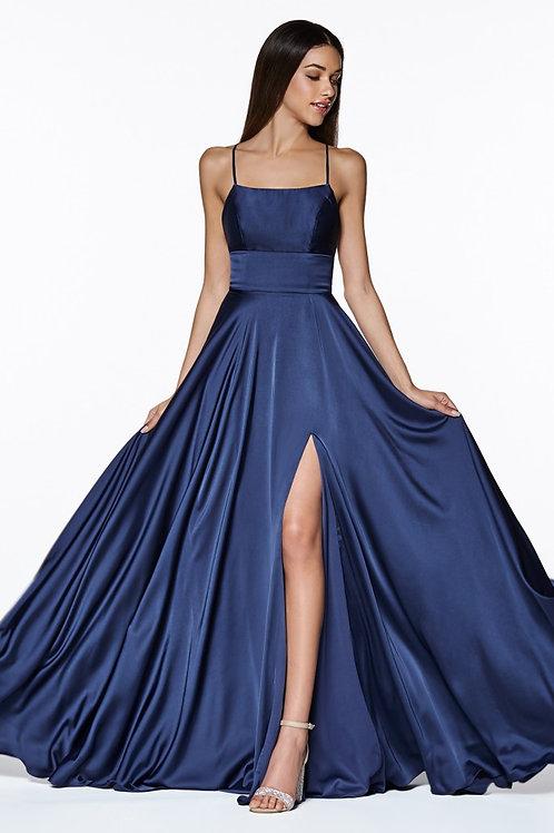 CD Paulina Crossback Silk Navy Gown