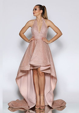 JA Hi Low Rose Gold Gown