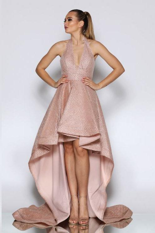 JA Hi Low Rose Gold Gown
