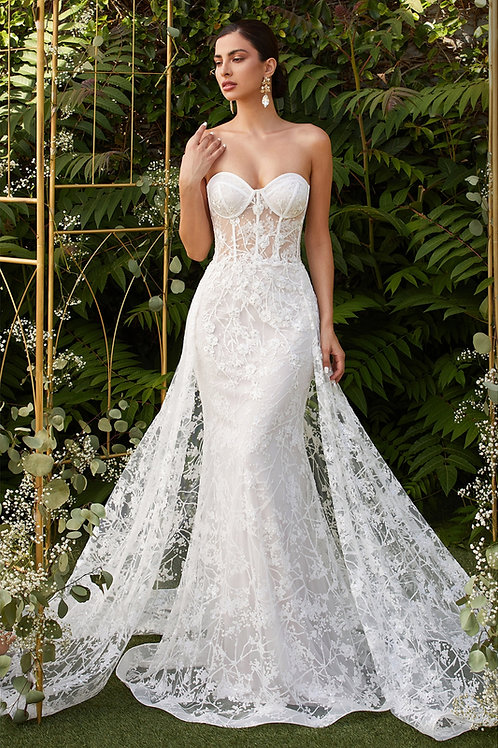 CD Cassia Strapless Gown with Overskirt