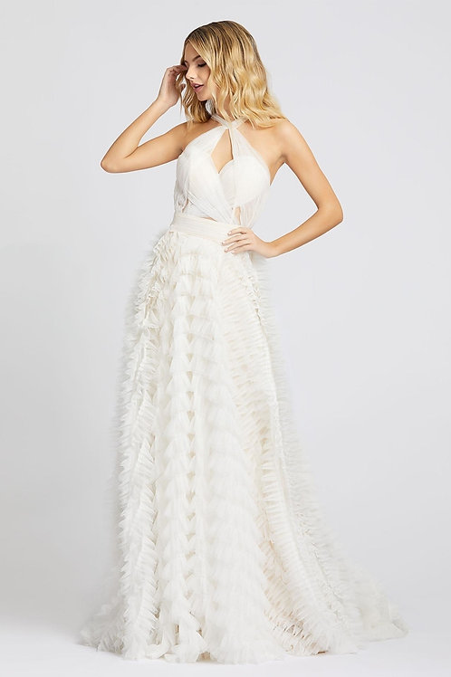 MD White Halterneck Ruffle Gown