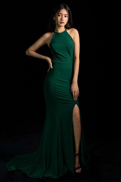 S Halterneck Emerald Gown