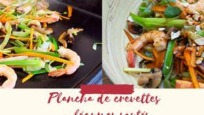 Crevettes marinées ail, citron, gingembre et légumes sautés sauce soja