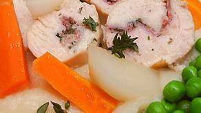 Ballotines de poulet au jambon Serrano - légumes glacés et petits pois