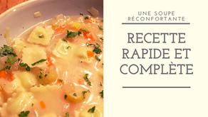 Soupe de ravioles aux petits légumes