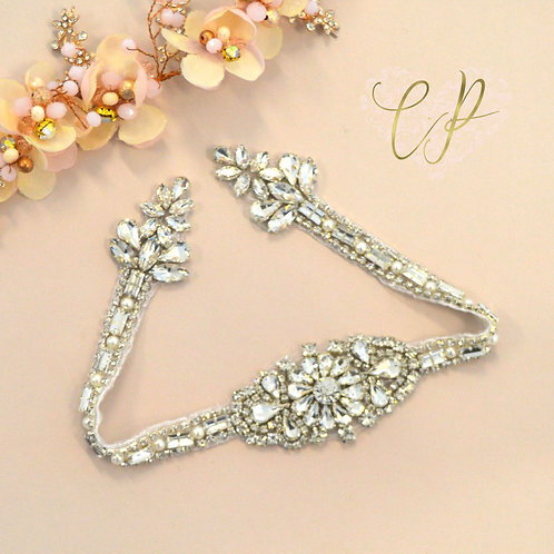 Sun Blossom Silver Premium Bridal Sash