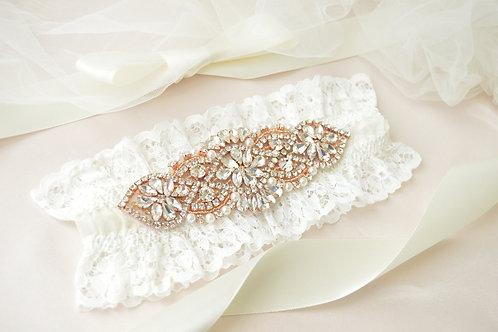 Alexa Rose Gold Ivory Lace Bridal Garter
