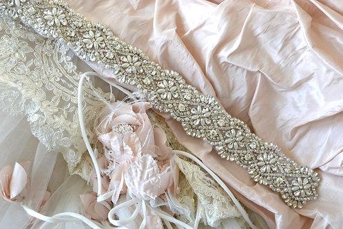 Alexa Silver Bridal Belt/Sash