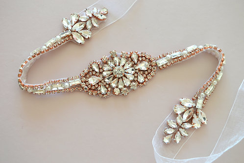 Sun Blossom Rose Gold Premium Bridal Sash