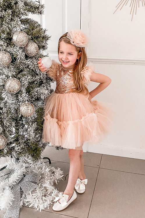 Rose Glitter Party Dress
