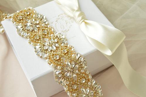 Alexa Gold Bridal Belt/Sash