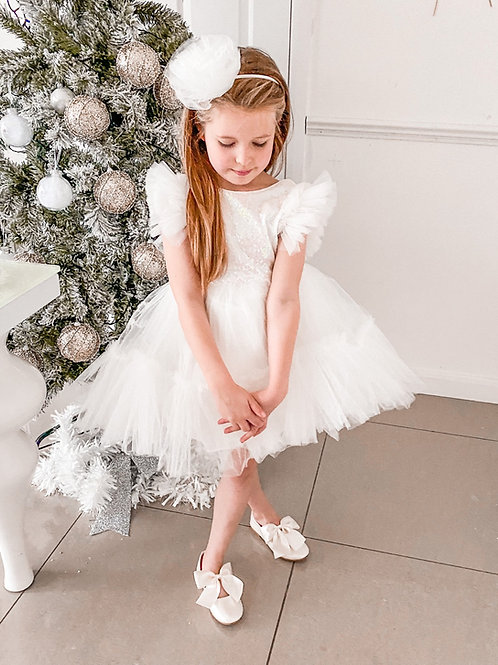 Ivory Fluffy Sleeves Party Dress