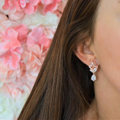 Aubrey Rose Gold Bridal Earrings