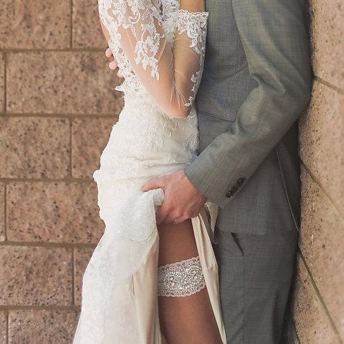 Alex Ivory Lace Bridal Garter