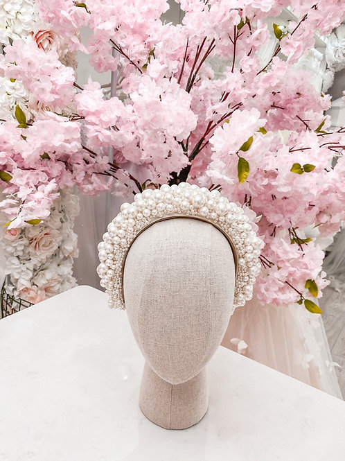 The Alya Ivory Designer Pearl Encrusted Headband - Sienna Likes to Party
