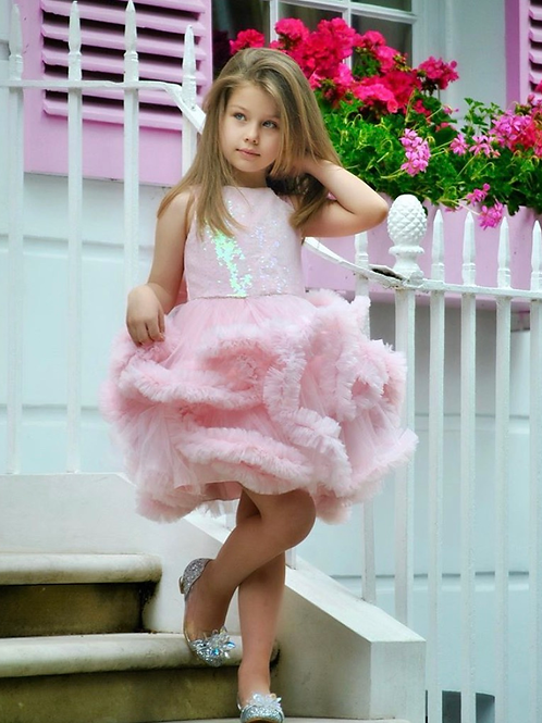 Pink Fluffy Party Dress