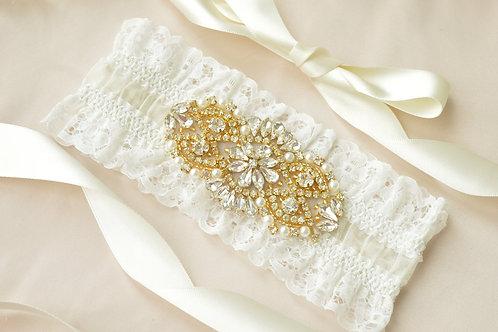 Alex Gold Ivory Bridal Garter