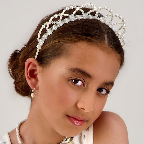 The Lailah Luxury Girls Pearl Tiara Headband - Sienna Likes to Party
