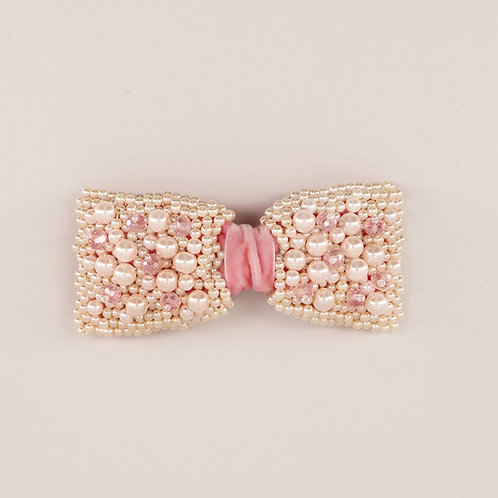 The Pearls & Bow Velvet Hair Clip - Sienna Likes to Party