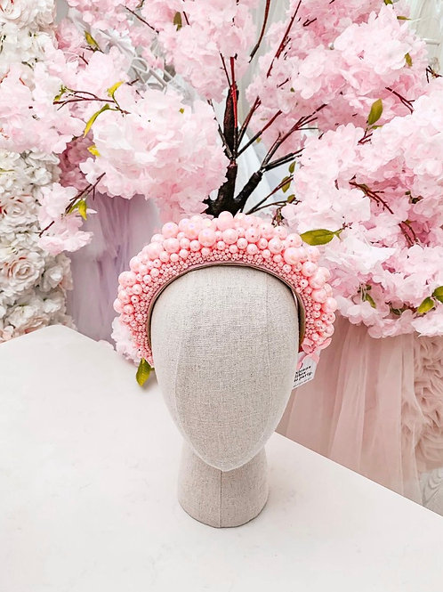 The Alya Pink Designer Pearl Encrusted Headband - Sienna Likes to Party