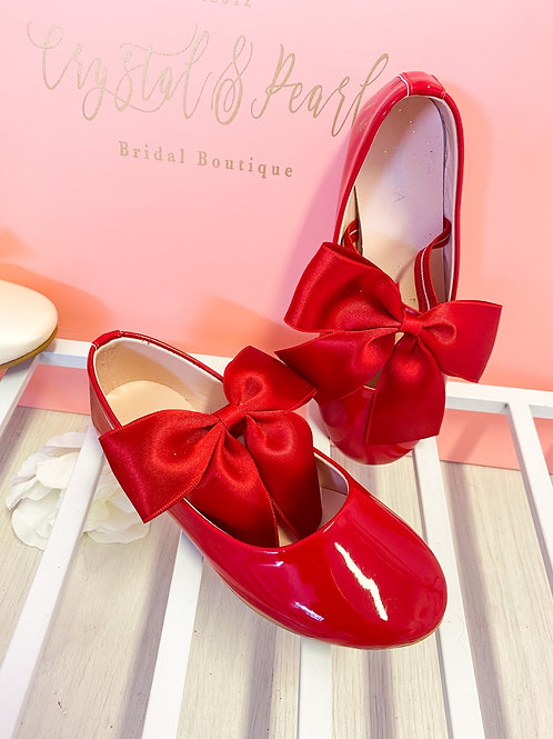 Girls Red Patent Bow Shoes